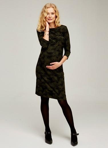 Emzirme Özellikli Kayık Yaka Hamile Elbisesi-Hooyo